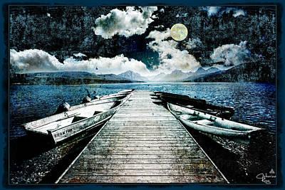 Row Boat Digital Art - Moonlight Boat Dock by Catherine King