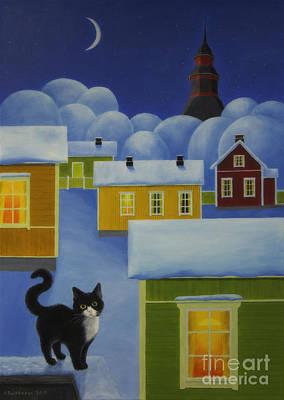Animals Paintings - Moonlight Cat by Veikko Suikkanen