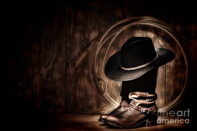 Cowboy Boots Photograph - Moonlight Cowboy by Olivier Le Queinec
