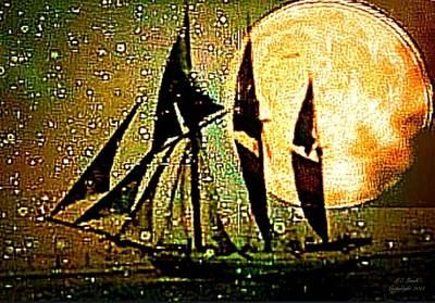 I Am Sailing Painting - Moonlight Crossing IIi by Larry Lamb