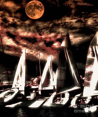 Art Print featuring the tapestry - textile Moonlight Cruise by Robert McCubbin
