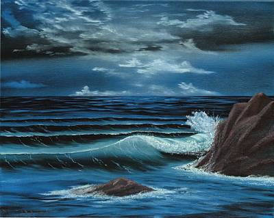 Night Scene Painting - Moonlight by Dave Carr