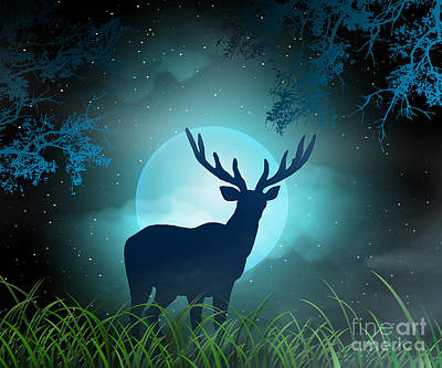 Moonlight Elk Art Print by Bedros Awak