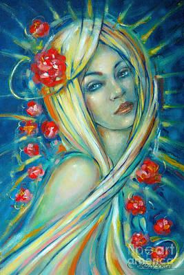 Painting - Moonlight Flowers 030311 by Selena Boron
