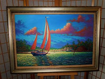 Painting - Moonlight Harbor by Joseph   Ruff