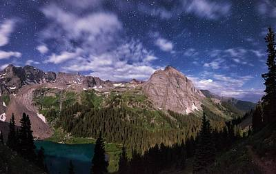 Moonlight Hiking On The Blue Lakes Trail Print by Mike Berenson
