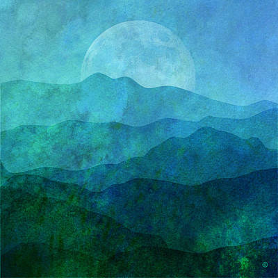 Abstract Digital Art - Moonlight Hills by Gary Grayson