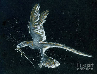 Painting - Moonlight Hunt - Microraptor by Julius Csotonyi