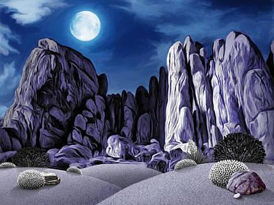 Moonlight In Joshuatree Art Print