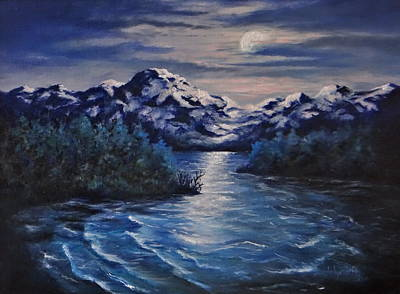 Painting - Moonlight In The Mountains by Arlys Hefty