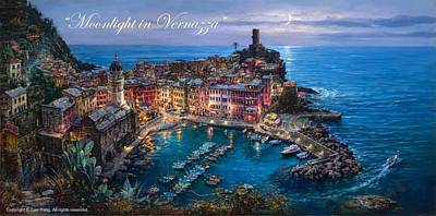 Number 24 Painting - Moonlight In Vernazza by Cao Yong