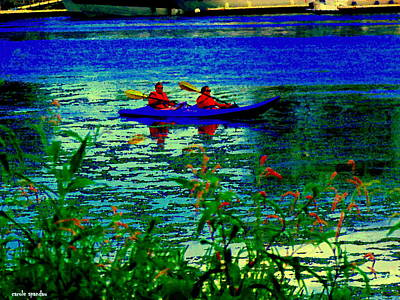 Moonlight Kayak Ride Along The Coastline Of The Lachine Canal Quebec Sea Scenes Carole Spandau Art Print by Carole Spandau