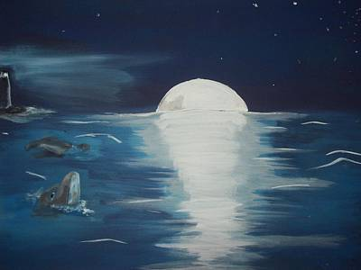 Lighthouse At Night Painting - Moonlight Lit Ocean by Gerard Provost