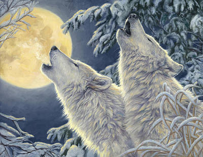 Wolves Painting - Moonlight by Lucie Bilodeau
