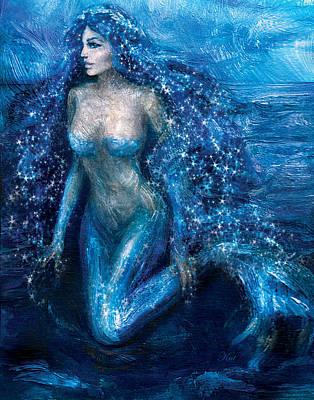 Mermaids Painting - Moonlight Mermaid by Kat Walker