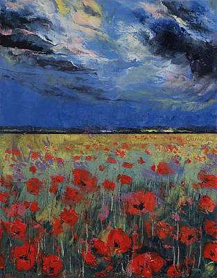Poppies Field Painting - Moonlight by Michael Creese