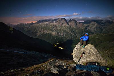 Tour Du Mont Blanc Wall Art - Photograph - Moonlight On Glacier Of Le Tour by FotoVertical