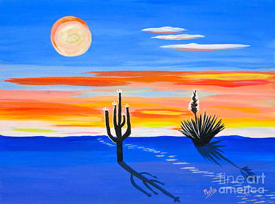 Painting - Moonlight On The Desert by Phyllis Kaltenbach
