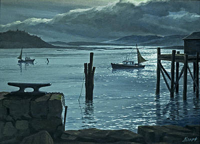 Maine Painting - Moonlight On The Harbor by Paul Krapf