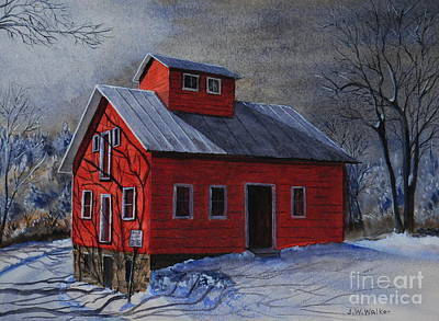 Painting - Moonlight On The Mill by John W Walker