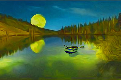 Moonlight Over Lake With Row Boat. Original by Carlos Villegas