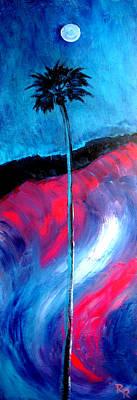 Fushia Painting - Moonlight Palm Original Art Print By Robert R by Robert R Splashy Art Abstract Paintings