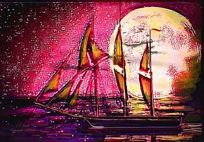 I Am Sailing Painting - Moonlight Passage by Larry Lamb
