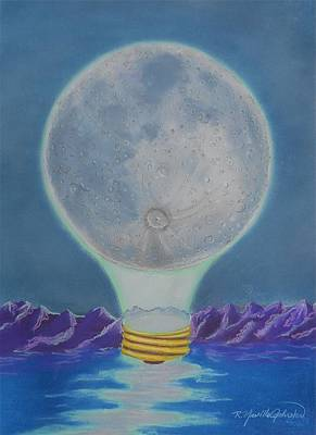 Reflecting Water Mixed Media - Moonlight by R Neville Johnston