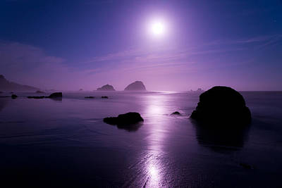 Sea Moon Full Moon Photograph - Moonlight Reflection by Chad Dutson