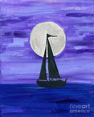 Moonlight Sail Art Print