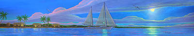 Painting - Moonlight Sailing Aboard Freya by Duane McCullough