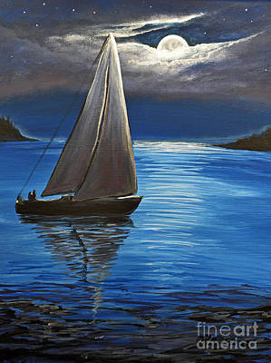 Moonlight Sailing Art Print by Patricia L Davidson