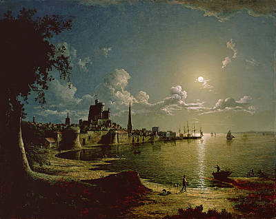 Moonlight Scene, Southampton, 1820 Art Print by Sebastian Pether