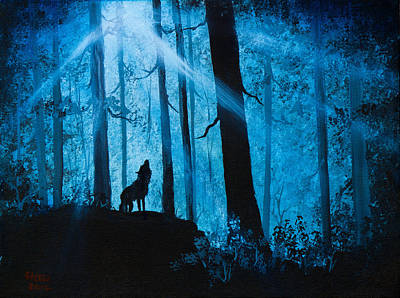 Sawtooth Mountain Art Painting - Moonlight Serenade by C Steele