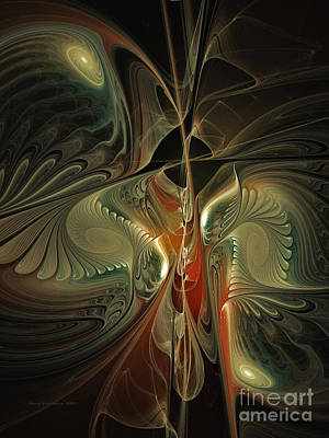 Contemplative Digital Art - Moonlight Serenade Fractal Art by Karin Kuhlmann