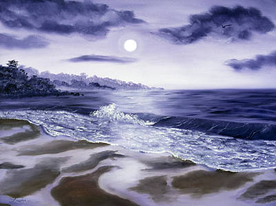 Crashing Wave Painting - Moonlight Sonata Over Carmel by Laura Iverson