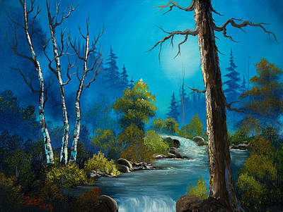 Bob Ross Painting - Moonlight Stream by C Steele