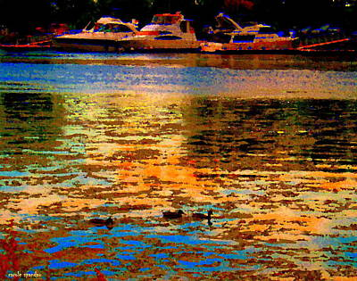 Moonlight Swim Boats And Ducks Navigate North Shore St Lawrence Lachine Canal Quebec Carole Spandau Art Print by Carole Spandau