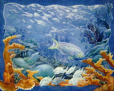 Parrotfish Painting - Moonlight Swim by Deborah Younglao