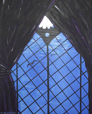 Art Print featuring the painting Moonlight Through The Window by Martin Blakeley