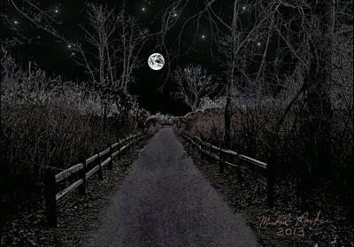 Jog Digital Art - Moonlight Trail by Michael Rucker