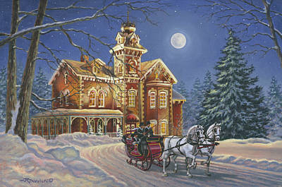 Horse And Sleigh Painting - Moonlight Travelers by Richard De Wolfe