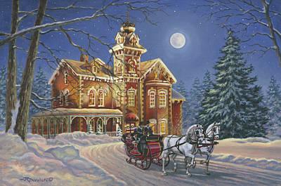 Christmas Art Painting - Moonlight Travelers by Richard De Wolfe