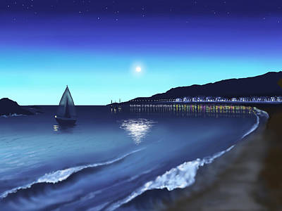 Seascape Digital Painting - Moonlight by Veronica Minozzi