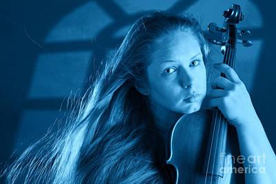 Photograph - Moonlight Violin Player by M K Miller