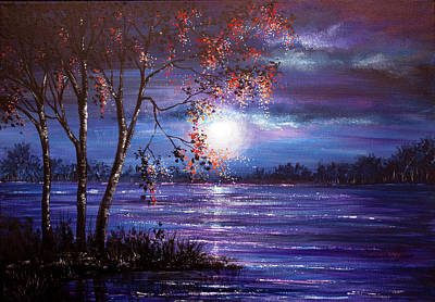 Christmas Painting - Moonlight Waters by Ann Marie Bone