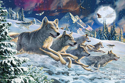 Running Digital Art - Moonlight Wolfpack by Adrian Chesterman