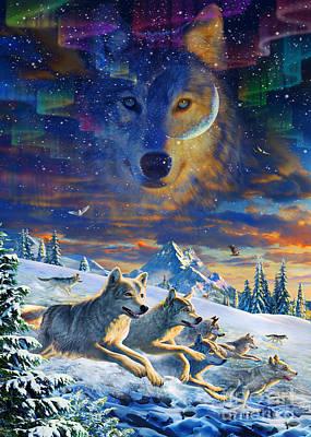 Arctic Digital Art - Moonlight Wolfpack Variant IIi by Adrian Chesterman