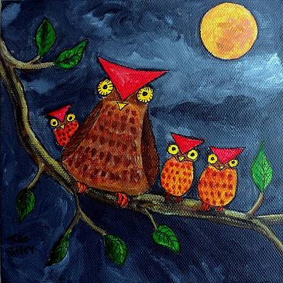 Moonlighting - Owl Family - Childrens Art Original by Julie Brugh Riffey