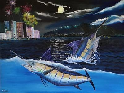 Moonlit Blue Art Print by Kevin  Brown